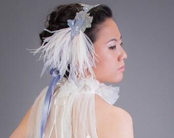 Art Nouveau Flapper Headband Ivory Ostrich Feather Headband Pale Blue and Silver
