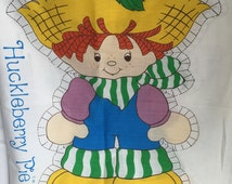 Vintage Fabric and Instuctions for Large Huckleberry Pie Cutout Doll Pillow - From 1980 - Easy to Sew and Stuff - Strawberry Shortcake