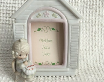 Vintage Precious Moments Figurine and Frame -  Mother Sew Dear -  From 1981 - A Great Gift for Mom