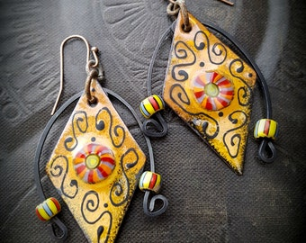Enameled Charms, Enameled Earrings, South West, Aztec, Tribal, African Beads, Earthy, Organic, Rustic, Beaded Earring