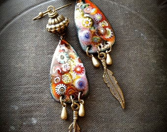 Enameled Charms, Flowers, Enameled Earrings, Vintage, Leaves, Brass, Fall, Autumn, Beaded Earrings