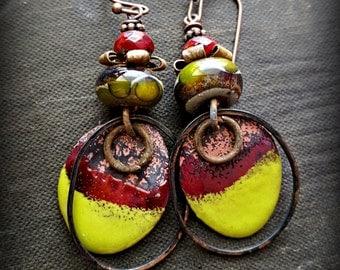 Enameled Copper, Lampwork Glass, Traveler, Gypsy, Bohemian, Copper, Rustic, Organic, Hoop, Beaded Earrings