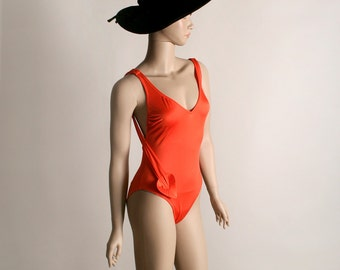 Vintage Orange Bathing Suit - Bright Tangerine Heart Sash Hip Swimsuit - Small