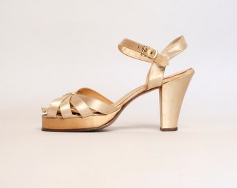 Vintage 1940s Wedding Heels - Satin Cream Criss Cross Strappy Heels - 40s Shoes - Size 6