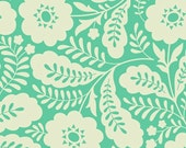 SALE Fabric, Floral fabric, Girl Nursery fabric, Mint fabric, Heather Bailey Clementine fabric- Primrose in Turquoise, Choose your cut,