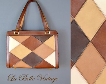 Brown Harlequin ~ Vintage Multicolored Leather Handbag