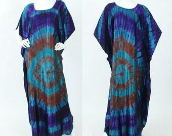 1970's Vintage Statement Tie Dye Satin Bohemian Caftan Dress OSFA