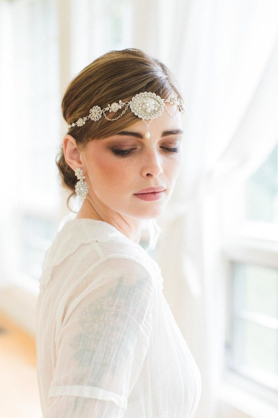 edwardian inspired bridal forehead band by ederajewelry on
