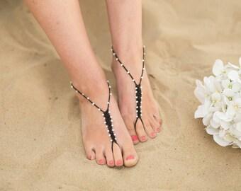 Barefoot Sandals Foot Jewelry Black White Beach Anklet Toe Ring Boho Wedding Soleless