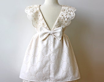 Vintage Eyelet Cream Ivory Toddler Girl Dress, Holiday Dress, Flower Girl Dress, Birthday Party Dress