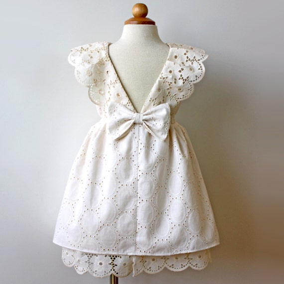 Vintage Eyelet Cream Ivory Toddler Girl Dress Holiday Dress