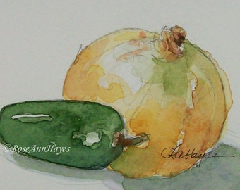 Original Watercolor Painting Onion Pepper Vegetable Garden Veggie Yellow Still Life ACEO