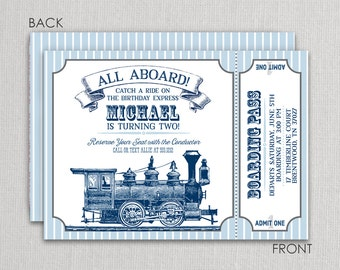 Train Invitation, Train Birthday Invitation, Vintage Train Party, Printed
