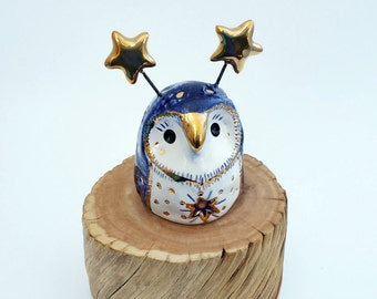 Blue Sparkle Fairy Owl Ceramic Sculpture with Gold Luster