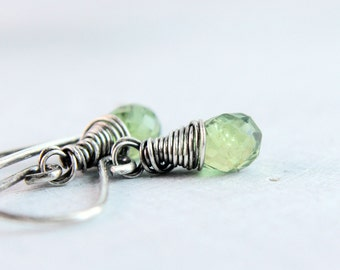 Green Apatite  Earrings Gemstone Jewelry Small Teardrop  Earrings Sterling Silver Natural Stone Jewelry Wire Wrapped Oxidized Silver