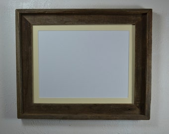 Picture frame 11x14 with off white mat for 8x10,8 1/2x11,8x12,7x9 or 9x12 handcrafted in the USA