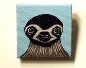 Sloth Painting Miniature - Sloth Face Tiny Painting - Original Wall Art Acrylic on Canvas 2 x 2 Inches Miniature Painting - Three Toed Sloth