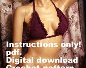 crochet pattern Ruffles & Crochet Bikini digital download pdf. written instructions how to make