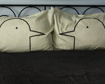 Green Tea Love Birds Pillow case Set, turtle doves, romantic gift for her, gift for women, husband, cotton anniversary