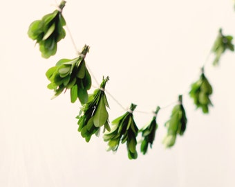 Miniature leaf garland, Natural home decor, Boxwood wall hanging, Wedding mantle decoration, preserved greenery, Natural wedding garland
