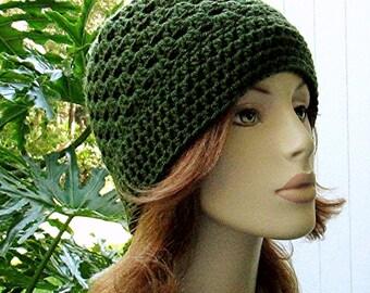 BEANIE Cloche DARK OLIVE Crochet Hat  //  Womens Accessories  //  Open Weave Beanie - Skull Cap - Flapper Cloche Hat ... Ready-to-Ship
