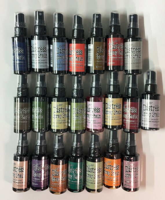Tim Holtz Distress Spray Stain 22 Color Lot 1.9 oz Dye Ink for Paper and Porous Surfaces Create Weathered Finishes Altered Attic