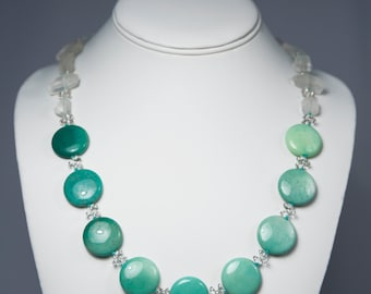 Green Opal by the Sea, Necklace with Opal + Quartz Crystal by La Miré New York