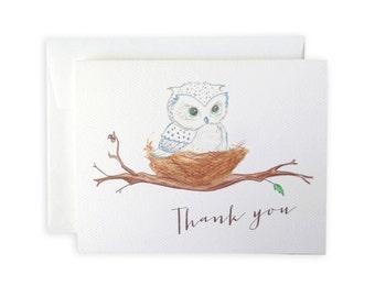 Snow Owl Greeting Card or Notecard Set