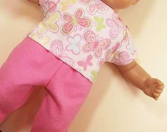 Bitty or Twin Doll Clothes - Pink Butterfly Pajamas