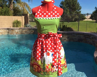 Gnome Sassy Apron, Womens Misses and Plus Sizes, Kitchen, Retro Style with Towel Loop, Michael Miller Gnomeville