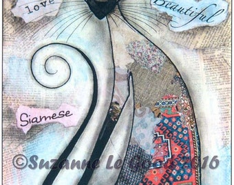 Large SEALPOINT SIAMESE CAT Limited Edition print from original collage painting by Suzanne Le Good