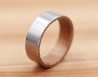 Titanium Ring Lined with Salvaged Mahogany - Wedding Band - Unique Wedding Ring