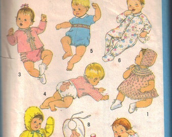 Simplicity Sewing Pattern. Babies' Layette 8 Outfits. Size 6 Months. Baby Clothes Pattern. Baby Sleepwear, Bib, Sacque, More. Vintage 1980