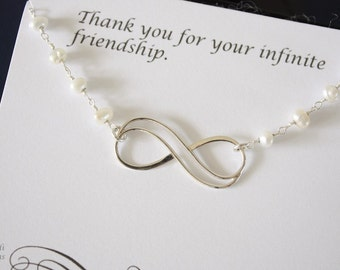 Silver Infinity Pearl Necklace, Best Friend Necklace, Bestie, Thank You Card, Sterling Silver Necklace, Sterling Silver Infinity Charm