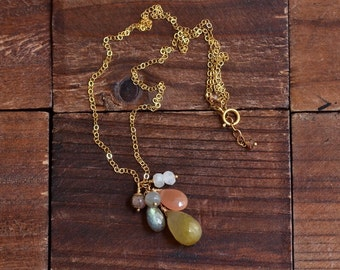 14kt Gold Rutilated Quartz Necklace -Mystic Moss Green Necklace - Cluster Stone Necklace -Dainty Gold Necklace -Modern Elegant Necklace