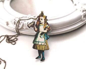 Alice in Wonderland necklace wooden pendant Drink Me kawaii victorian egl lolita