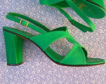 70s strappy sandals / Amalfi heels / GREEN leather sandals / Florence, Italy / sexy boho designer sandals,  womens 6-6.5 M