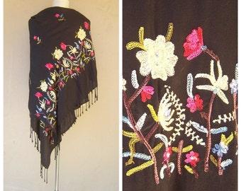 Black gypsy shawl / floral embroidery / Frida Kahlo pashmina / boho scarf wrap / 70x28