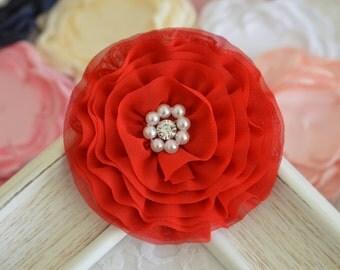 New! 2pcs Handmade Chiffon flowers--red (FB1066)