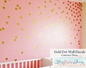 Gold Circle Dot Shaped Wall Decals - Gold Metallic Dot Peel and Stick Wall Stickers Set of 200 Vinyl Wall Decals Nursery or Kid Room Decor