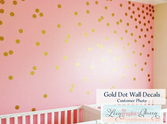 gold circle dot shaped wall decals gold metallic dot peel. Black Bedroom Furniture Sets. Home Design Ideas