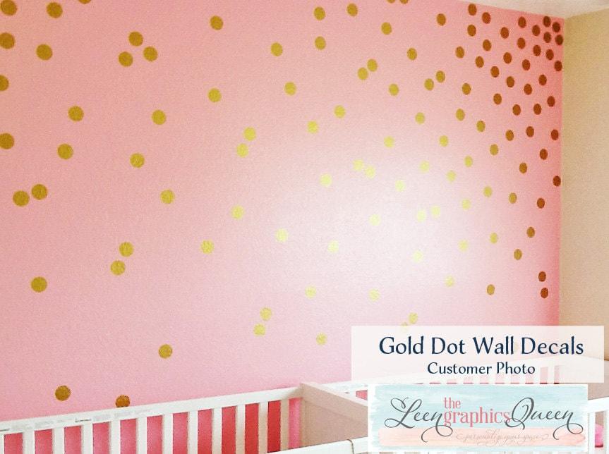 Gold Circle Dot Shaped Wall Decals Gold Metallic Dot Peel - Wall decals gold dots