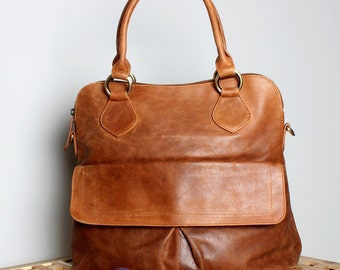 Leather Handbag Tote Bag Vintage Tan Brown