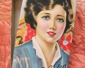 Beautiful Vintage Candy Box Dolly Varden Sweeties Chocolate with Flapper Portrait