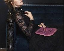 Black Lace Blouse, black lace shirt, Victorian high neck blouse, Victorian costume, boho shirt