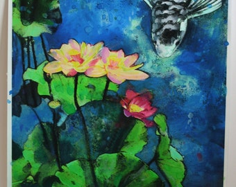 Lotus,summer rain, 16x20 inches,mixed media photograph with painting added, #Koi #Lotus #Fish ponds #Art #Wall art #Koi art #Contemporary