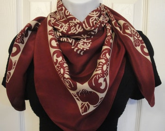 Vintage 33 by 32 inch square silk scarf, Burgundy & taupe Asian letter design, Excellent Condition, Made in Korea, Bonus Scarf Donuts