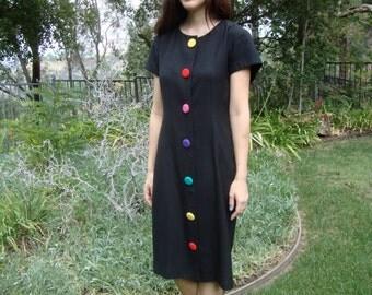 Vintage Rainbow Colored Buttons Dress M