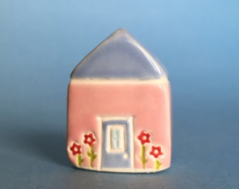 Little flower House Collectible Ceramic Miniature Clay House pink blue