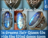 Don s Favor solas gealai Moonlight Rainbow moonstone Fairy and Koi design Ooak